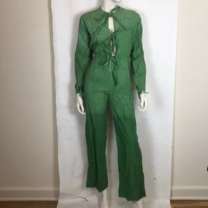 Vintage 70s deadstock green dip dye boiler suit XS